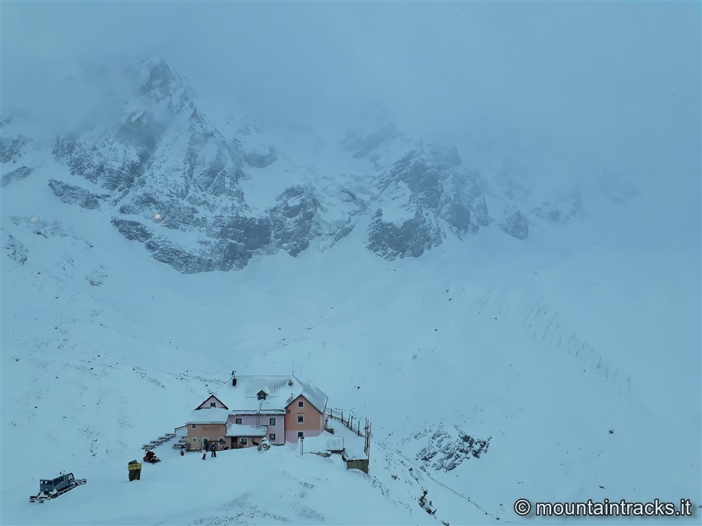 mountain hut and snow